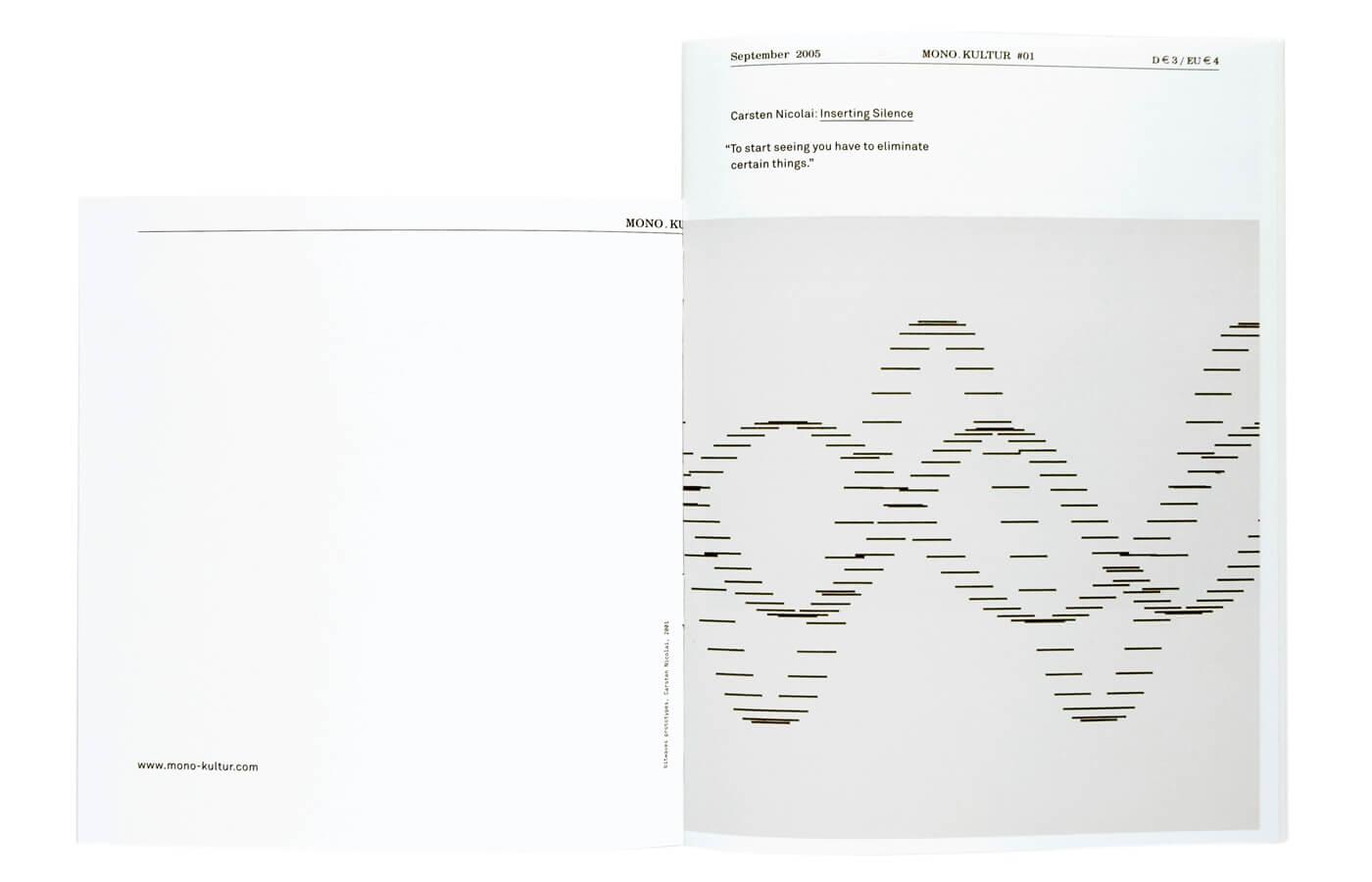 mono.kultur #01, Carsten Nicolai: Inserting Silence